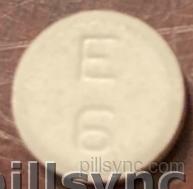 ROUND WHITE E 6 baclofen tablet